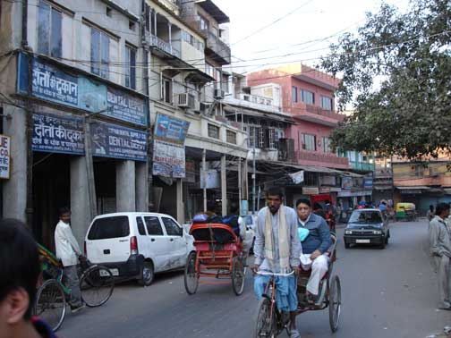 Bicycle rickshaw in Old Delhi.
