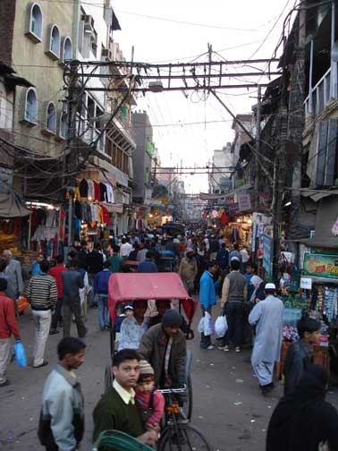 Narrow streets in Old Delhi and Kabadi Bazaar.
