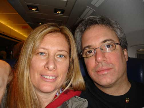 Eileen and Hugh on the airplane at takeoff.